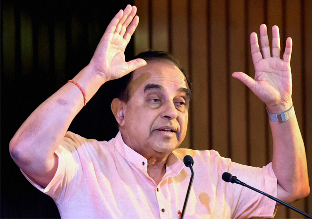 File pic - BJP leader Subramanian Swamy speaks at an event
