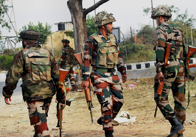 Jawans take position during and encounter in Nagrota