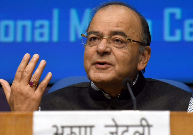 File pic - Finance Minister Arun Jaitley speaks to media in