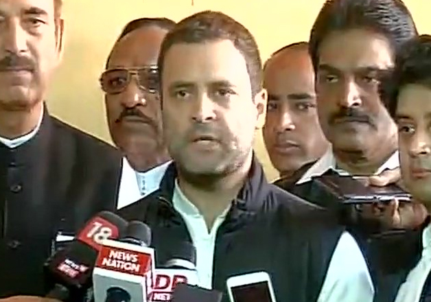 Rahul Gandhi speaks to reports outside Parliament
