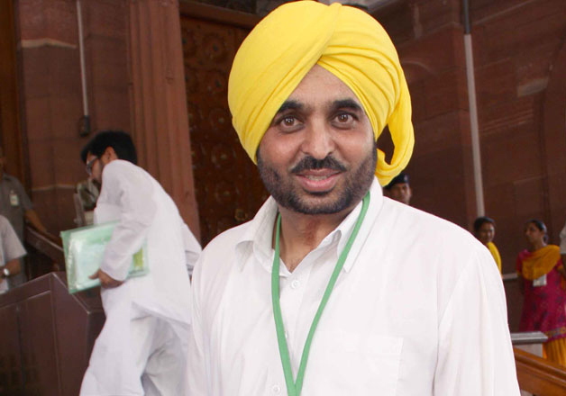 File pic of AAP MP Bhagwant Mann outside Parliament