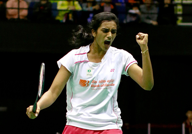 PV Sindhu reacts during a match against Tai Tzu Ying at