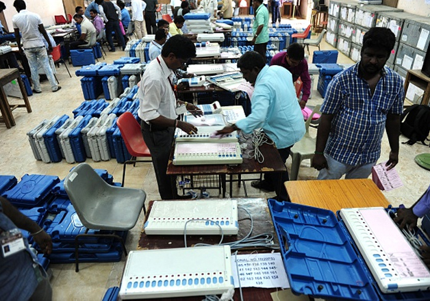 File pic - Polling officials checking the workings of EVM