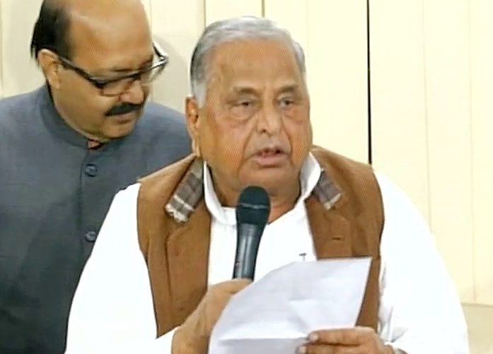 Mulayam Singh Yadav during a press conference today