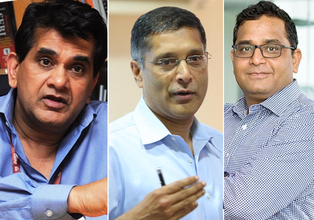 File pic - Amitabh Kant, Arvind Subramanian and Vijay
