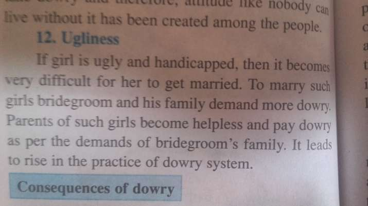India Tv - 'Ugly or handicapped' girls cause dowry demands, says Maha textbook