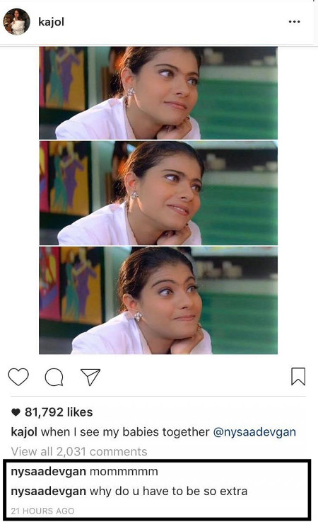 India Tv - Kajol's Instagram post embarrasses daughter Nysa, see pic