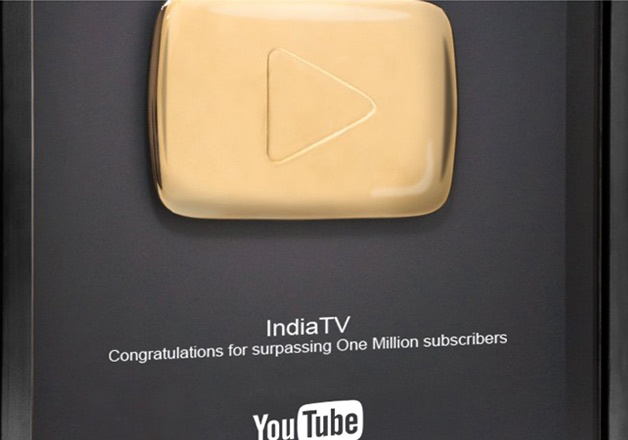 Youtube congratulates India TV for 1 million subscription