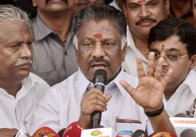 File pic - OPS speaks to media in Chennai