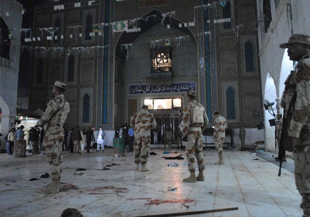 Pakistani para-military soldiers at the sufi shrine in