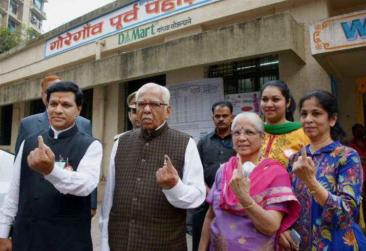 India Tv - UP Governor Ram Naik after casting vote in Mumbai civic polls