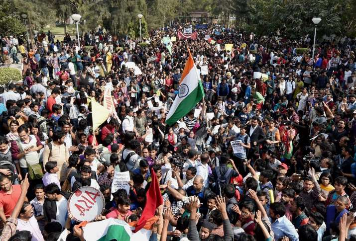 Students and teachers during protest march against ABVP at