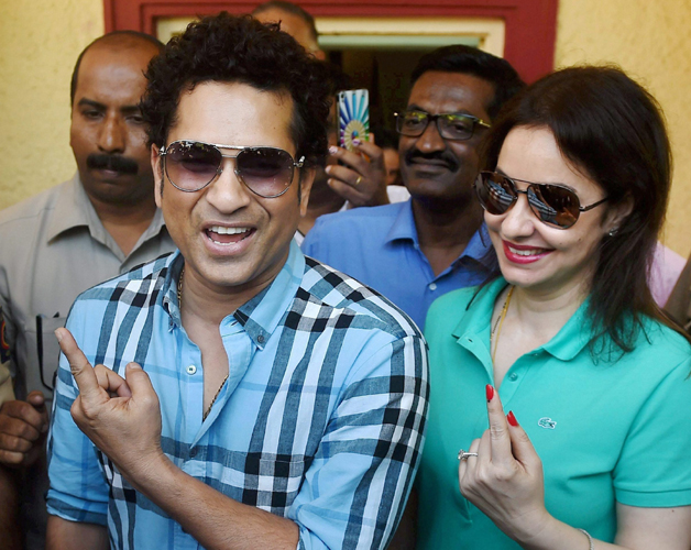 India Tv - Sachin along with wife Anjali