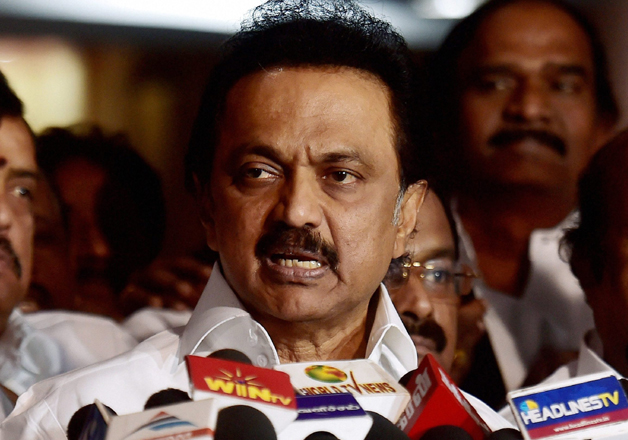 DMK working president MK Stalin speaks to media in Chennai