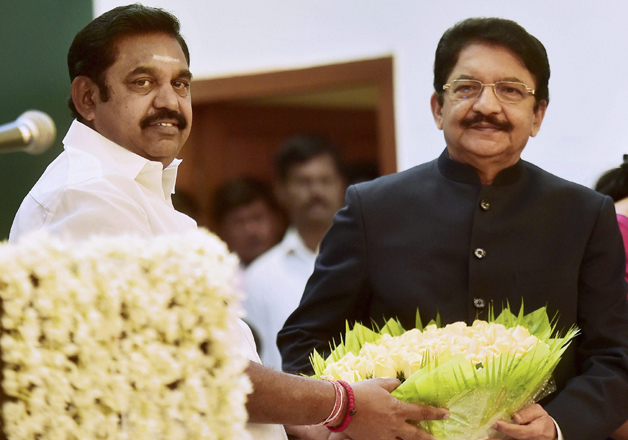 CM Palaniswami with Governor Rao after taking the oath as