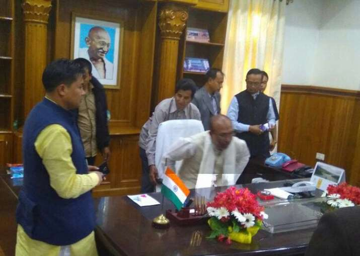 Biren Singh takes charge as the new CM of Manipur.