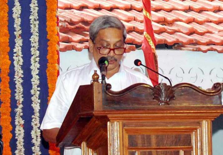 Manohar Parrikar taking oath as Goa's new CM at a