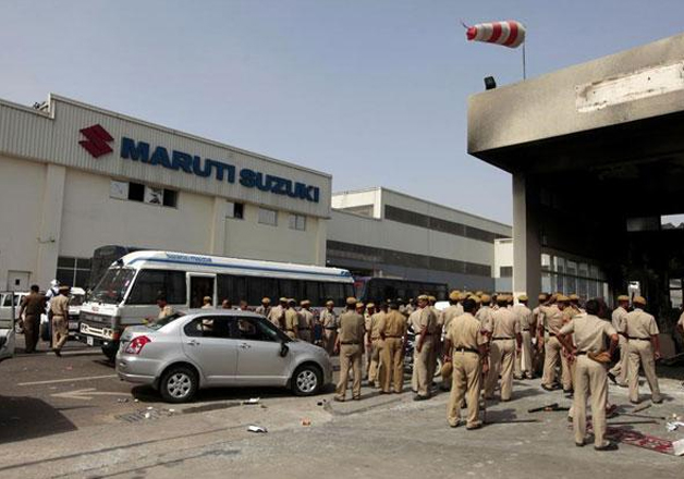 File pic - Police personnel at Maruti factory in Manesar