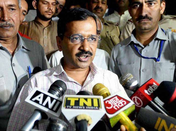 Kejriwal addressing media after his meeting with Delhi