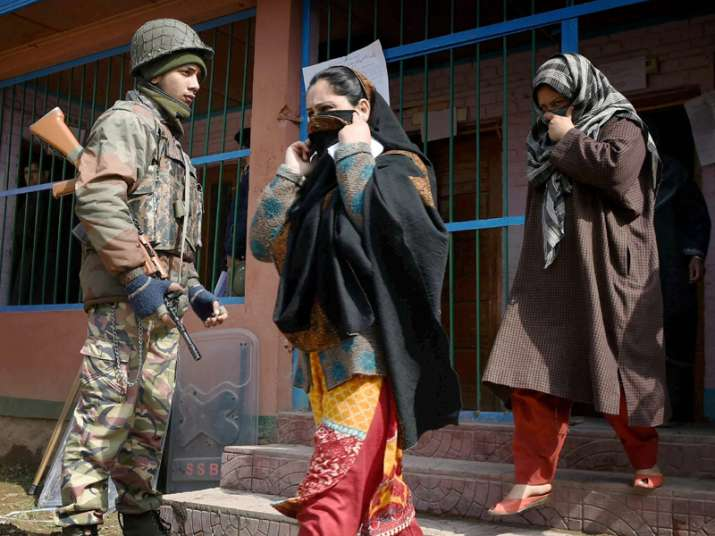 File pic - Women coming out after casting their vote in