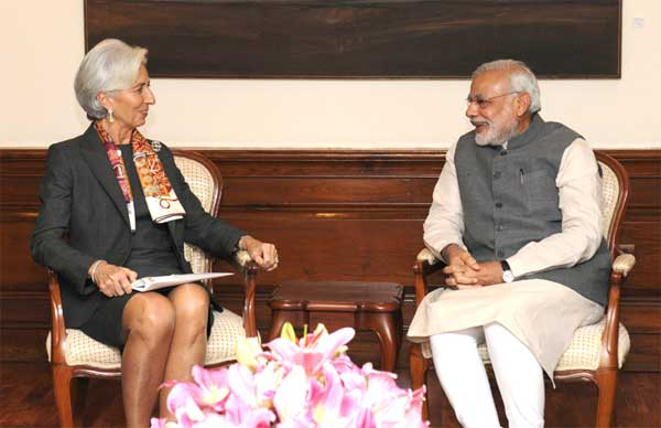 File photo of IMF chief Christine Lagarde with Prime