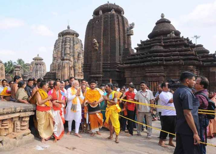 PM Modi at the Lingaraj Temple in Odisha