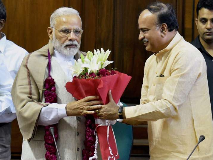 PM being greeted by Ananth Kumar to thank him for passage