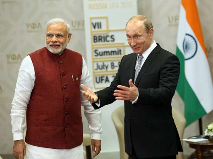 File pic of PM Modi and Russian President Putin at an event