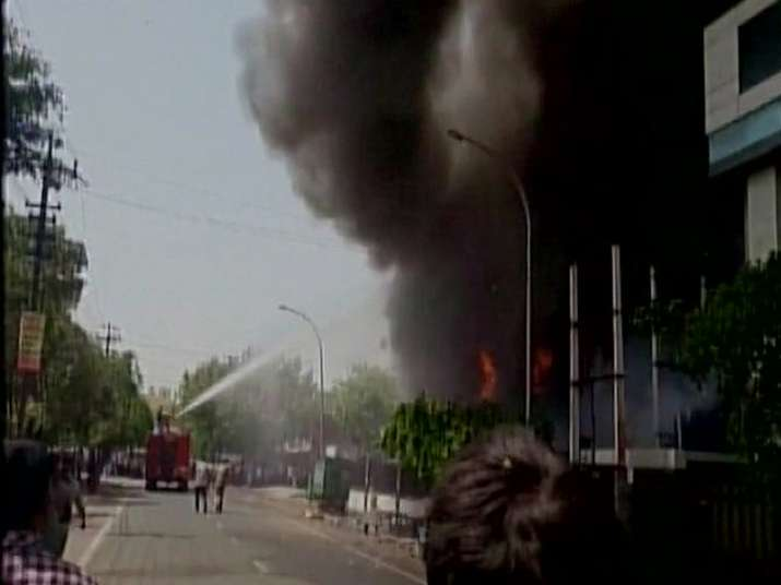 Six dead as massive fire breaks out at LED factory in Noida