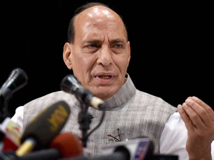 Rajnath Singh interacts with the media in Kolkata on Friday