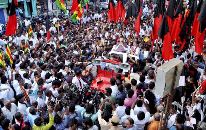 DMK's Stalin campaigns for party candidate ahead of RK