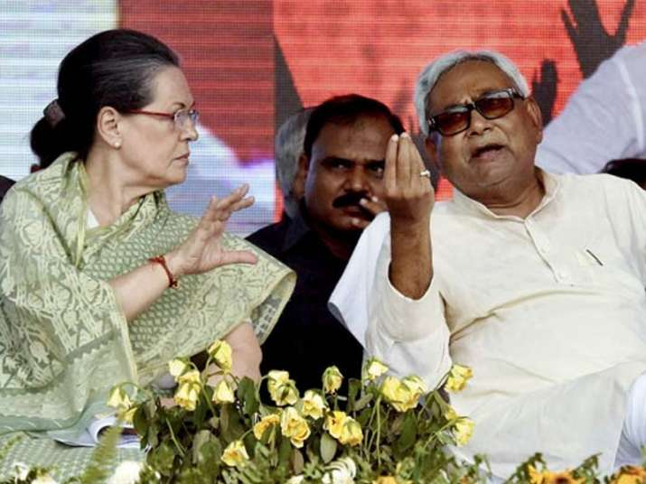 File pic of Sonia Gandhi and Nitish Kumar