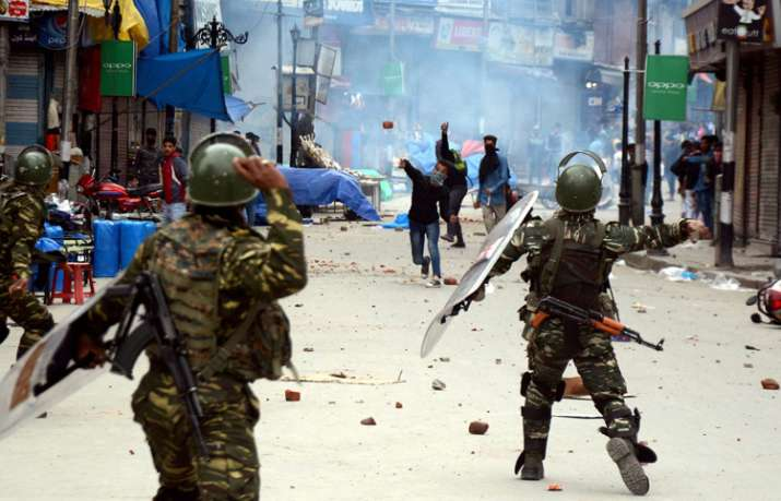 A mob gathered near the Army camp and pelted stones on the