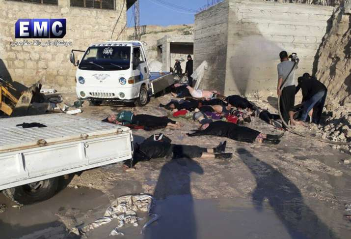 India Tv - Victims of a suspected chemical attack in Idlib province, Syria