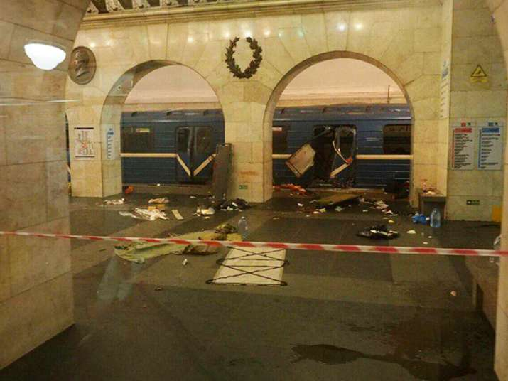 A subway train hit by an explosion in St Petersburg