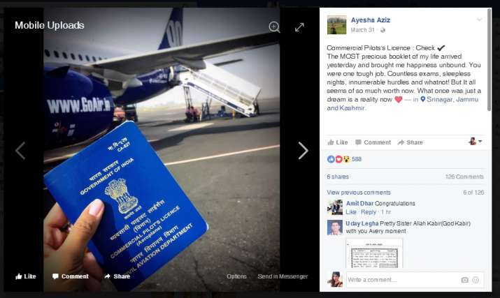 India Tv - At just an age of 21, Ayesha Aziz becomes the youngest pilot of India!