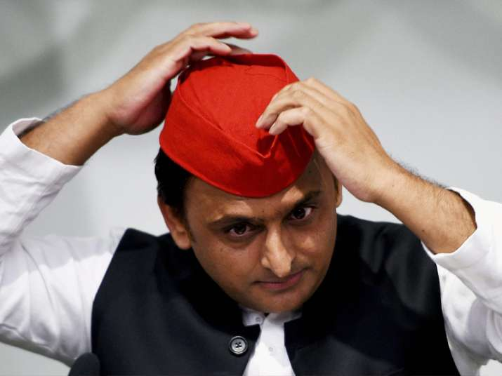 Akhilesh Yadav addressing a press conference at party