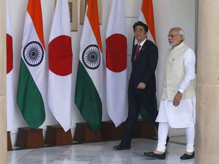 File pic of Japan PM Abe with his Indian counterpart
