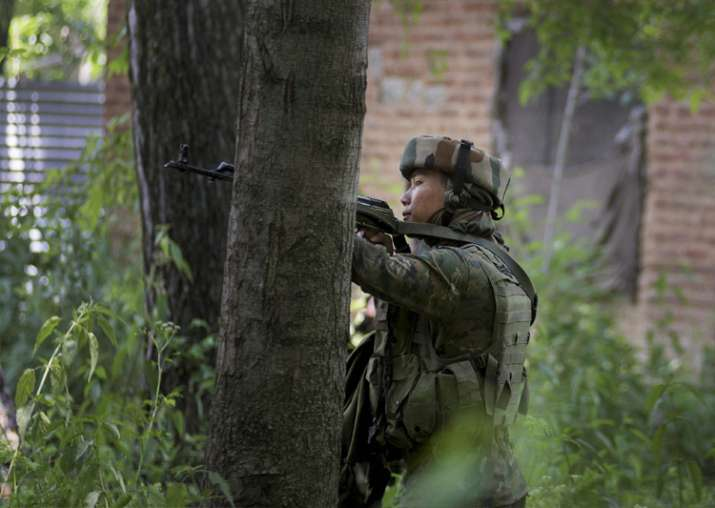 Jawan takes position in a near by house during an encounter