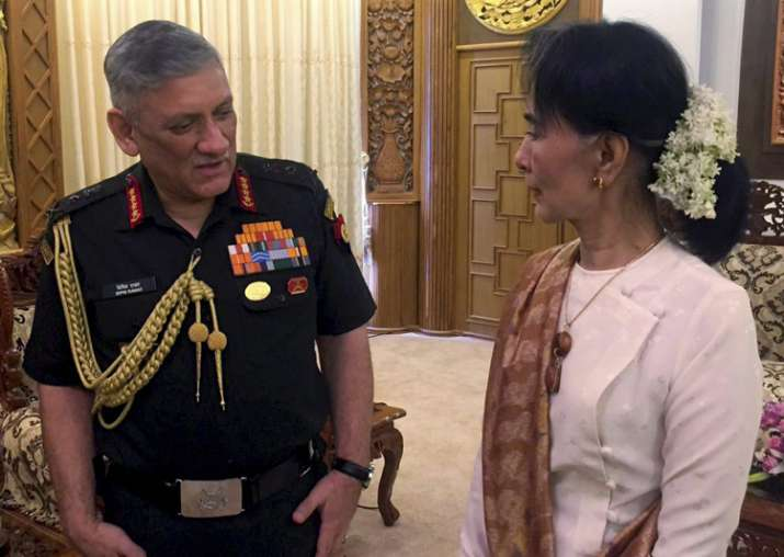 Army Chief Gen Bipin Rawat with Myanmar State Counsellor