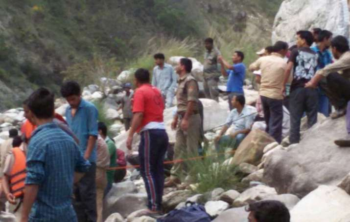 Rescue operation after bus with pilgrims falls into