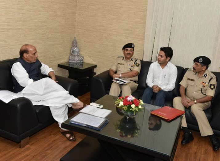 BSF exam topper with Home Minister Rajnath Singh last year
