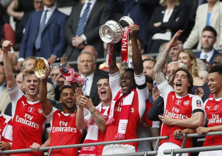 Arsenal players celebrate after winning FA Cup final