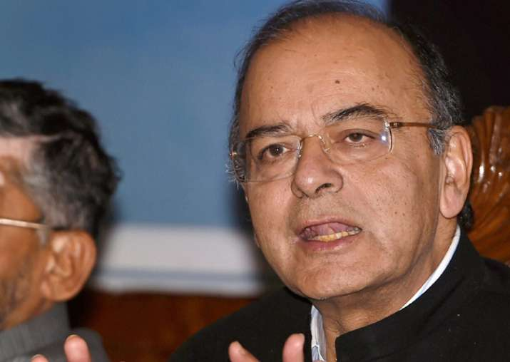 Jaitley addressing media on the firsrt day of the 14th GST