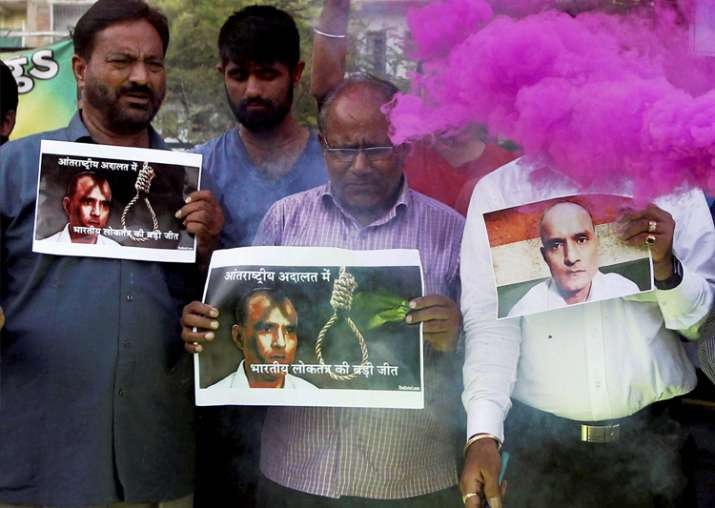 People celebrate with crackers ICJ verdict on Jadhav in