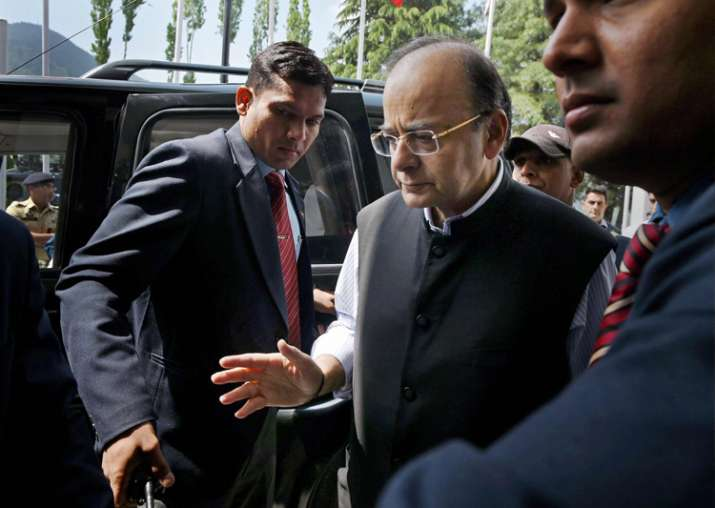 Jaitley arrives to attend the 14th Goods and Services Tax