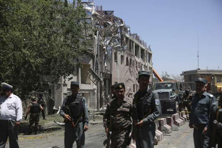 Security forces near the site of a suicide attack in Kabul
