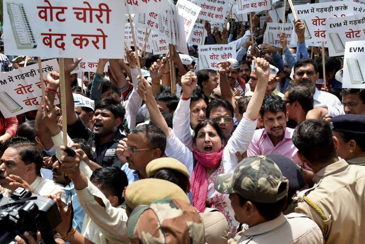 AAP workers protest outside EC officer over alleged