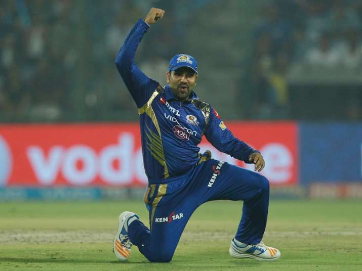 Rohit Sharma celebrates after MI beat DD by 146 runs