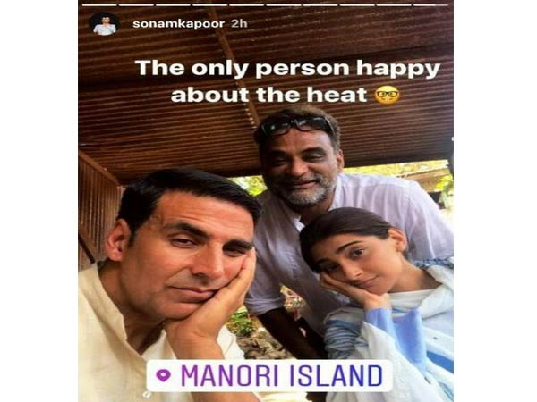 India Tv - Sonam Kapoor posted an Instagram story with Akshay Kumar and R Balki